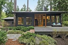 """""""View this Great Modern Exterior of Home with exterior stone floors & Pathway in Bainbridge Island, WA. The home was built in 1981 and is 2268 square feet. Discover & browse thousands of other home design ideas on Zillow Digs. Modern Exterior, Exterior Colors, Exterior Paint, Exterior Design, Grey Exterior, Traditional Exterior, Open Space Living, Living Spaces, Bainbridge Island"""