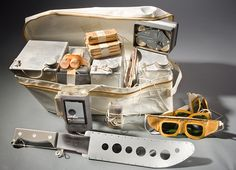 The survival equipment shown here was carried on the Apollo 11 mission. The survival kit provided 48 hours of survival supplies for the three-man crew, if rescue was delayed. The supplies fit into two rucksacks. Space And Astronomy, Hubble Space Telescope, Nasa Space, Apollo Space Program, Apollo Missions, Nasa Missions, Air And Space Museum, Space Race, Apollo 11