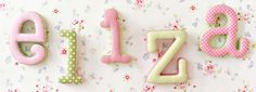 New Arrivals Pink and Green Fabric Letters