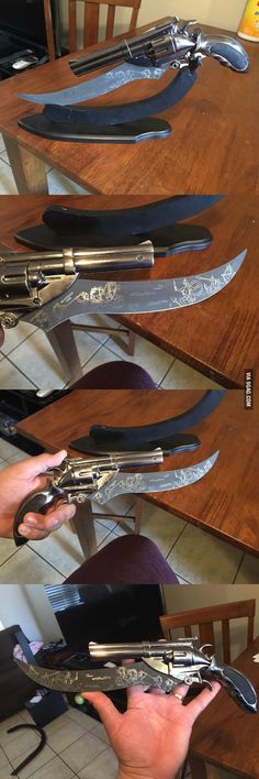 What's my zombie apocalypse weapon of choice you ask? Oh, just this badass gun/knife I found at a yardsale. - 9GAG