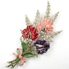Trifari 'Alfred Philippe' Rhinestone and Enamel Triple Floral Spray with Bow Pin Clip