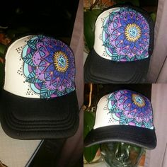 Check out this item in my Etsy shop https://www.etsy.com/listing/253206381/hand-painted-mandala-trucker-hat
