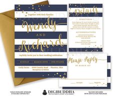 NAVY & GOLD WEDDING Invitation Glitter Confetti 3 Pc Suite RSvP Enclosure Card Navy Blue Stripe Invite Free Shipping or DiY Printable- Wendy by digibuddhaPaperie on Etsy https://www.etsy.com/listing/240301729/navy-gold-wedding-invitation-glitter
