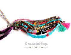 Bracelet Gypsy Bohême chic multirang multicouleur perles indiennes bronze argentée : Bracelet par arbremagic