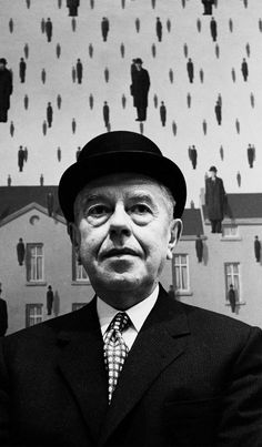 "René Magritte - described his paintings as ""visible images which conceal nothing; they evoke mystery and, indeed, when one sees one of my pictures, one asks oneself this simple question, 'What does that mean?'. It does not mean anything, because mystery means nothing either, it is unknowable."" #surrealist"