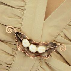 Artisan Pearl Peas In A Pod Brooch 2 In 1 Necklace Solid Copper | popnicute - Jewelry on ArtFire