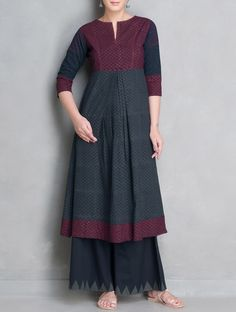 Buy Indigo Maroon Printed Pleated Mangalgiri Cotton Kalidar Kurta Apparel Tunics…