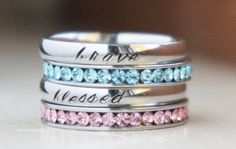 Birthstone stacking rings Personalized Name Silver Stamped Engraved Mom Ring by RiverValleyJewelry on Etsy https://www.etsy.com/listing/212518571/birthstone-stacking-rings-personalized
