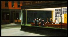 "Another parody/reinterpretation of ""Nighthawks"" by Edward Hopper."