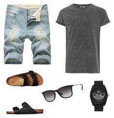 """Sun Day"" by giilerme on Polyvore featuring Birkenstock, Topman, adidas, Ray-Ban, men's fashion e menswear"