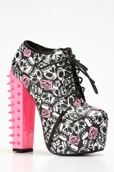 Kiss Spiked Up Pink Lace Up Bootie