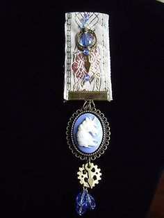 Steampunk #gothic victorian #style medal blue white unicorn #cameo pin badge…