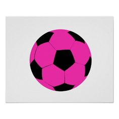 098ecd2626a3 Pink and Black Soccer Ball Poster