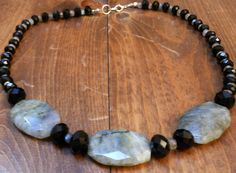 """Chloe's Creations Item 281- 19.5"""" Labradorite & Glass Necklace with Earrings. by JewelryMadeByChloe on Etsy"""