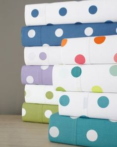 Dot to Dot Percale Bedding? Love these polka dot sheets.
