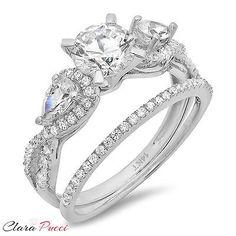 jewelry: 1.80 Carat Round Cut Engagement Bridal Ring band set real 14k White Gold #Jewelry - 1.80 Carat Round Cut Engagement Bridal Ring band set real 14k White Gold...