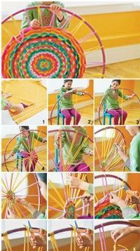 """""""hula hoop woven carpets ~ T-shirt cut into strips"""" I've seen this a few times now, and although I probably won't DO it....it's interesting."""