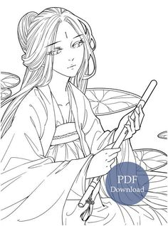 Instant Download Fallen City – Anime Art and Classic Chinese Portrait Coloring Book! High quality images fit on A4 paper Over 200 printable coloring books available #forest #coloringbook #coloringpage #coloring #portrait #mystica #aeppol #momogirl #koreacoloring #download #ebook #coloringpage #fantasy #anime #manga Coloring Book Pages, Coloring Sheets, Anime Hair, Manga Anime, Fall City, Forest Drawing, Girl In Water, T Art, A4 Paper