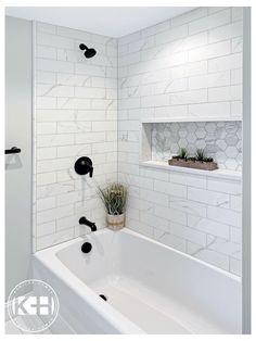 Upstairs Bathrooms, Hall Bathroom, Bathroom Renos, Family Bathroom, Master Bathroom, Budget Bathroom, Bathroom Fixtures, Tile For Small Bathroom, Master Shower Tile