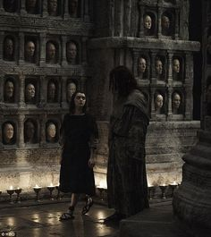 Arya ready: Jaqen H'Ghar seems happy to finally unleash fledgling assassin scrappy Stark once more as they prance around in the Hall Of Faces