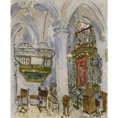 Marc Chagall, Interior of the Ashkenazi Ha'Ari Synagogue, Safed , 1931 – Tablet Magazine