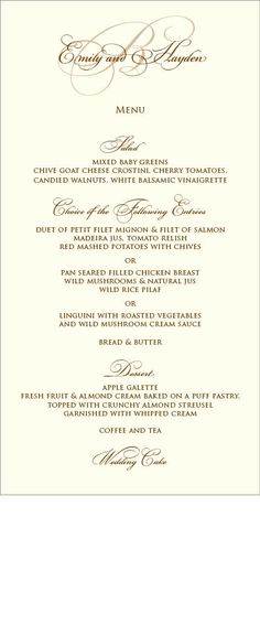 Menu Card designed by Debra Fleming +1-510-595-8422 www.debra.fleming@flemingslettershop.com