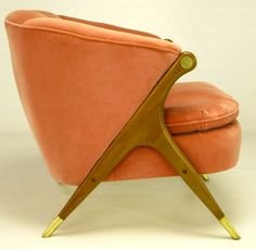Anonymous; Walnut and Brass Lounge Chair by Karpen Furniture, 1950s.