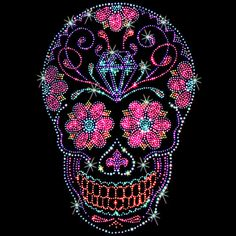 85410851451 Womens TANK TOP Shirt Rhinestones Studs Day of the Dead Sugar Skulls And  Roses