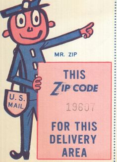 Mr. ZIP was based on an original design by Howard Wilcox, son of a letter carrier and a member of the Cunningham and Walsh advertising agency, for use by a New York bank in a bank-by-mail campaign. Wilcox's design was a child-like sketch of a postman delivering a letter. It was akin to the famous Good Guys smiley face. #design #designhistory