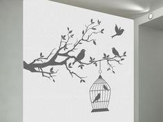 Wandtattoo Dekorativer Ast mit Vogelkäfig