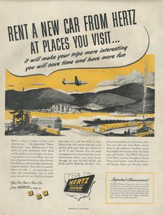 hertz car rental ads from the 1950s advertise it vintage style 2 pinterest cars. Black Bedroom Furniture Sets. Home Design Ideas