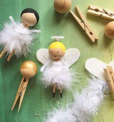 DIY Clothespin doll in feather skirt // Ruhacsipesz angyalka tollszoknyában // Mindy - craft tutorial collection // #crafts #DIY #craftTutorial #tutorial #ChristmasCrafts #Christmas #Karácsony