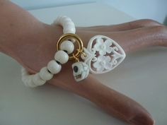 Bone bracelet with bone heart and skull. See a full selection on my facebook page (Penny Foggo Design)