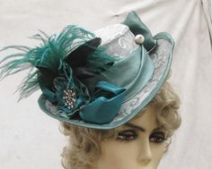 Feathers, ribbons, shiny stuff, the mixing of colour - looking forward to working on hats!!! 1900s Victorian Riding Hat