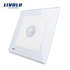 Fabricante, livolo nuevo interruptor de la inducción humana, Panel de Cristal Cristal blanco, AC 110 ~ 250 V Home Pared Interruptor de Luz VL-W291RG-12