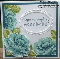 Handmade card by Shannon Aydukovic.  Uses Stampin' Up! products - Stippled Blossoms Set, Friendly Phrases Set, and Designer Frames Embossing Folders.
