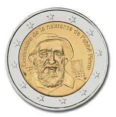 Pièce de 2 Euros commémorative de France 2012 commémore le centenaire de la naissance de l'Abbé Pierre ( 1 000 000 ex/ estimation environ 6 Euros)