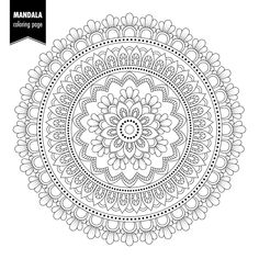 Illustration about Monochrome ethnic mandala design. Anti-stress coloring page for adults. Pattern Coloring Pages, Mandala Coloring Pages, Colouring Pages, Coloring Books, Mandala Artwork, Mandala Drawing, Mandala Painting, Free Adult Coloring, Mandala Stencils
