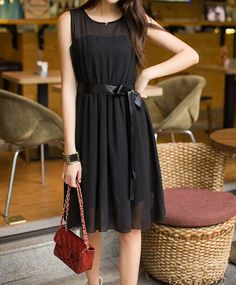 $13.12 Solid Color Sweet Scoop Neck Sleeveless Chiffon Dress For Women