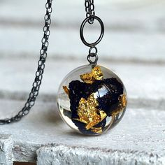 Resin Necklace with Azurite and Gold Flakes Christmas Gift