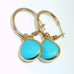 Gold Hoop Earrings, Dangle Turquoise Earrings, Gemstones Earrings, Turquoise  Hoop Teardrop Earrings, December Birthstone. on Etsy, $55.00