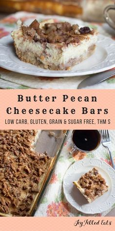 Butter Pecan Cheesecake Bars - Low Carb, Grain & Sugar Free, THM S via @joyfilledeats