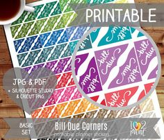 Bill Due Corners Printable Planner Stickers Erin by ilove2print