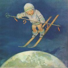 Jessie Wilcox Smith Vintage Ski Posters, Vintage Books, Vintage Art, Jessie Willcox Smith, Vintage Happy New Year, Vintage Children, Cute Art, Illustrators, Greeting Cards