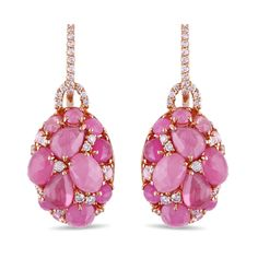 Miadora 18k Rose Gold Pink Sapphire 1/2ct TDW Diamond Earrings
