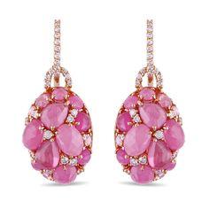 Miadora 18k Rose Gold Pink Sapphire 1/2ct TDW Diamond Earrings