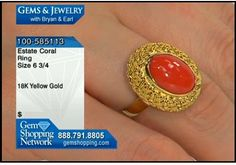 Coral in yellow gold - Beautiful orange coral set in rich 18k yellow gold with a ring mount showing a lovely basket weave design. #coral #rings