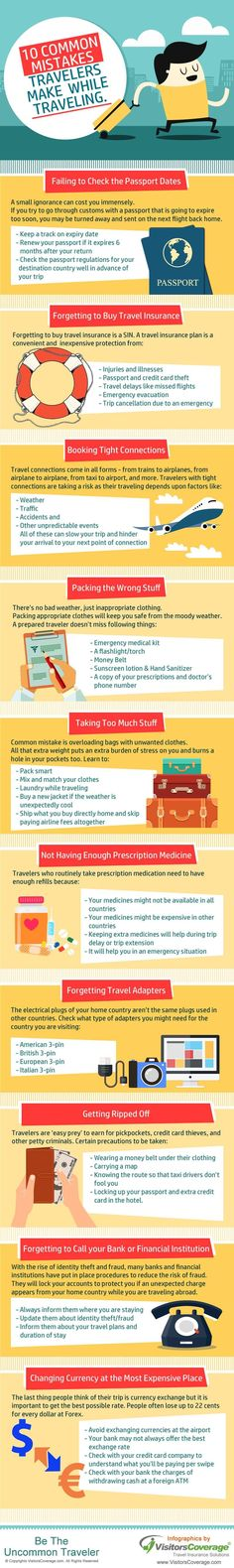 Here is an infographic that represents some of the most common travel mistakes made by travelers. Considering to rectify these mistakes can help travelers to avoid mishaps and have a smooth journey. I Want To Travel, Ways To Travel, Travel Info, Travel Advice, Budget Travel, Travel Guides, Travel Tips, Travel Destinations, Travel Hacks