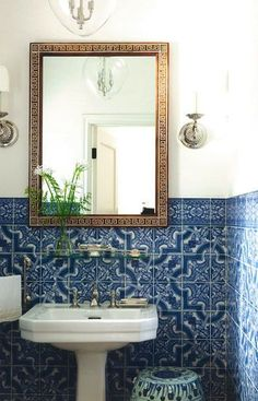 Decorative blue wall