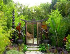 This gateway goes into the black bamboo garden - a circular room completely surrounded by black stemmed bamboo. Its really stunning and peaceful in person.